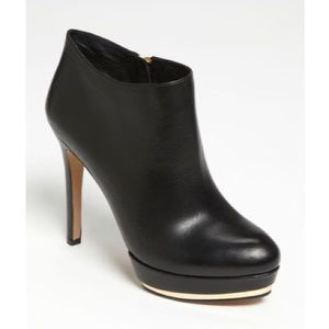 Vince Camuto Dira Leather Metallic Heeled Bootie